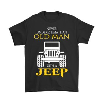 AUGUAU Never Underestimate An Old Man With A Jeep Shirts