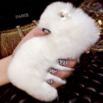 Bling Crystal Rhinestone Design Fluffy Soft Genuine Rabbit Fur Winter Warm Case for iPhone 7 se 5s 6 6s Plus + Christmas gift box