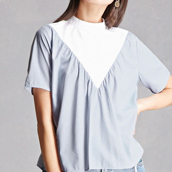 High Neck Pinstripe Top