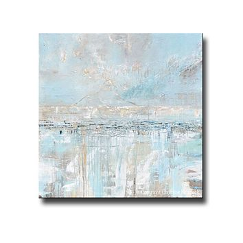 CUSTOM FOR SUSAN Original Art Abstract Painting Textured Canvas Coastal Landscape Horizon Home Decor Light Blue Grey White 48x24""