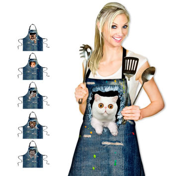 3D Denim Cat Apron