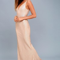 Here to Wow Matte Rose Gold Sequin Maxi Dress