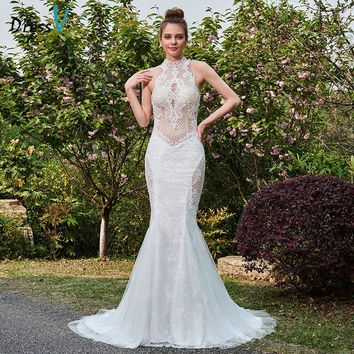 Dressv ivory mermaid long wedding dress high neck court train sleeves hollow bridal gown outdoor&garden lace wedding dresses