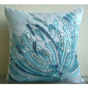Water Burst - Throw Pillow Covers - 18x18 Inches Silk Pillow Cover Embroidered with Different Color Sequins & Beads
