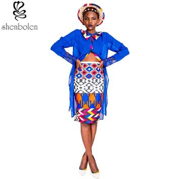 Fatima African fashion sets for women ankara  2pc tops+skirt