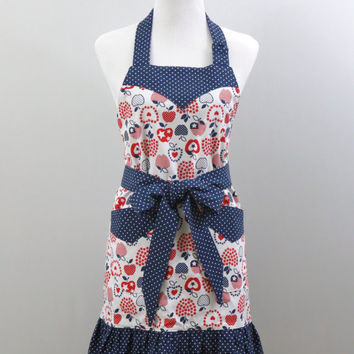 Womens Apron, Red, White & Blue, Stars and Stripes, Apple Print , Ruffled Bottom, Fully Lined, 100% Premium Cotton