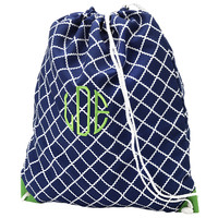 Personalized Navy Academy Drawstring Backpack by Cordial Lee