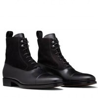 Handmade mens black leather boot, Men ankle high lace up formal boot, Mens boot