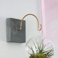 Wood and Copper Wall Mount Hanger // Unique Wall Decor // Handmade