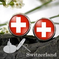 Switzerland Flag stud Earring - Swiss national flag earring Silver Plated Stud Earrings 12 or 10 mm dia