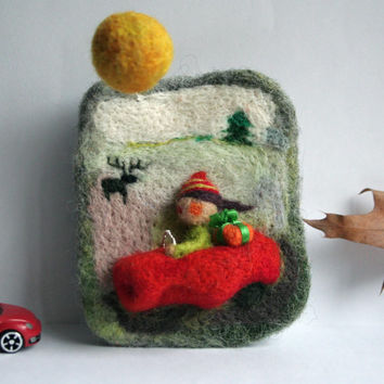 "Felted jewelry - brooch ""Christmas vacation on country side"" - handmade"