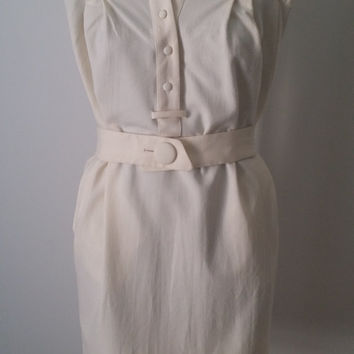 Vintage Dress, 1980s Cream Witchery Dress, Elegant and Feminine, Size 10, Small, Ivory, Wool, 80s Office Dress