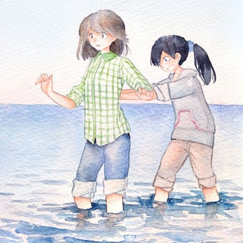 Original Watercolor Painting  5x7  girl illustration - Original picture,sea,Wading in the beach