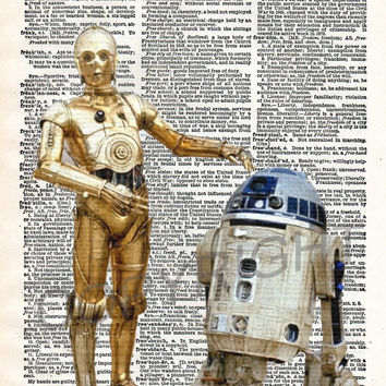 Star Wars R2D2 and C3PO Dictionary Art Print