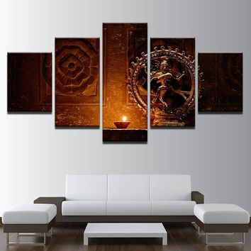 Canvas Paintings Wall Art HD Prints 5 Pieces Shiva Nataraja Statue Poster India God Vintage Pictures Living Room Decor Framework