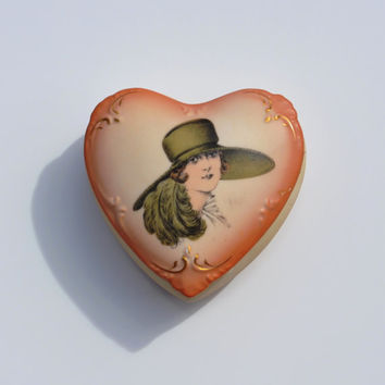 Antique Porcelain Trinket Box, Vintage Victorian Gibson Girl Lidded Portrait Box,  Ladies Art Nouveau Jewelry Dresser Box, Circa 1910 - 1920