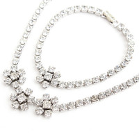 Vintage Kramer Rhinestone Necklace Bracelet Set - Silver Tone Floral Designer Costume Jewelry / Faux Diamond Set