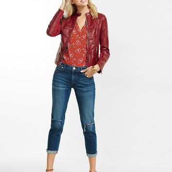 Red Double Peplum (Minus The) Leather Jacket