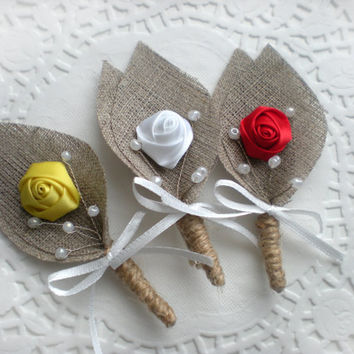 Burlap Groom's Boutonniere for Wedding Rustic Bout with custom color Flower