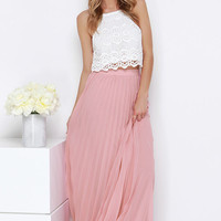 Soothe Sailing Blush Pleated Maxi Skirt