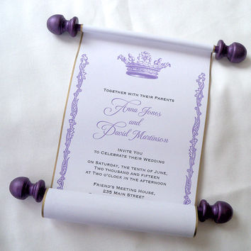 Royal wedding invitation, paper scroll invitation, crown invitation, castle invitation, purple and gold wedding, set of 10 scrolls