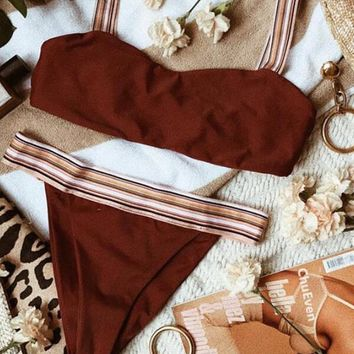 Burgundy Dandeau High Leg Bikini Set