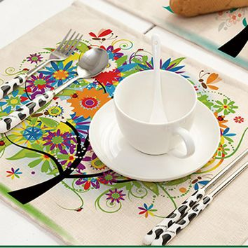 Colorful Happy Tree Printed Pattern Cotton Linen Placemat Pad