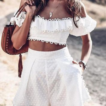 Cotton Two-Piece Embroidery Playsuit