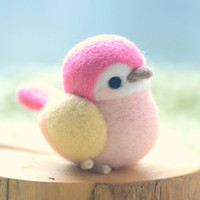 Handmade bird figurine, needle felted bird doll, Blushing bird collection - pink and yellow color, home decor ornament, gift under 30