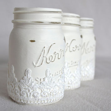 LACE Hand Painted White Mason Jars with Lace Accent- Set of 3