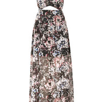 Grid Floral Maxi Dress - Dresses  - Clothing