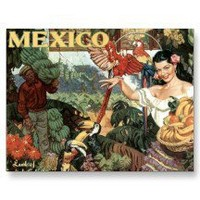Vintage Mexico Travel Poster Postcard