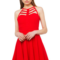 Cut Out Skater Dress - Red