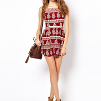 Glamorous Printed Skater Dress With Belt