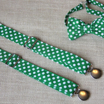 Green and White Polka Dot Bow Tie and Suspender set ( Men, boys, baby, toddler, infant ) St Patricks Day Bow Tie, Bowtie, Suspenders Set