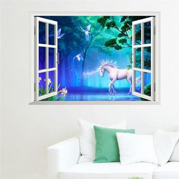 Unicorn Horse Fake Window Wall Stickers for Kids Room Decoration 3d Animals Mural Art Diy Cartoon Diy Scenery Home Decals