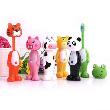 Baby Toothbrush Silicone Toothbrush Kids CartoonTooth Brush Soft Bristle Tooth Brush Mouth Clean Teether Training A19265