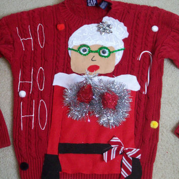 Unisex Ugly Christmas Sweater Women Medium Men Small  Naughty Ho  Mrs Claus Funny Naughty Fun.NEVER BEFORE SEEN