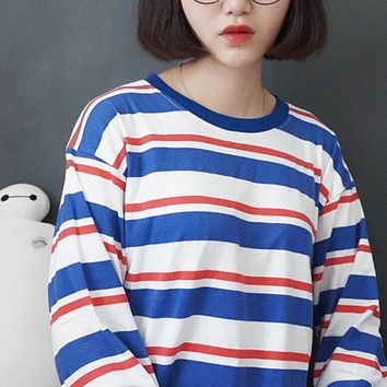 Red & White & Blue Stripped Shirt