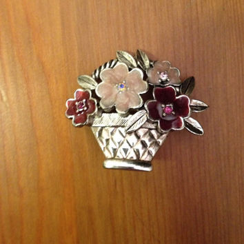 Floral Pin Antique Brooch Flower Basket Jewelry