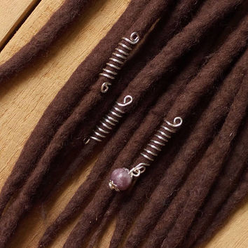 Hair jewerly, dread beads set, lepidolite crystal. dreadlocks jewelry, silver wire dread beads, Dread accessories
