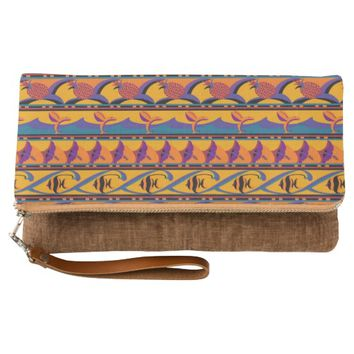 Tropical Fish, Hibiscus & Pineapple Pattern Clutch