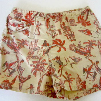 Vintage Mens swim trunks Surfer swimming suit shorts 1950s surfer Hawaiian