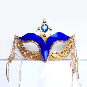 Masquerade Mask - Gold & Blue Venetian Mask