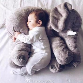 ONETOW Fashion Baby Animal Elephant Style Placate Doll Stuffed Plush Pillow Kids Room Bed Decoration Toys [9303708874]