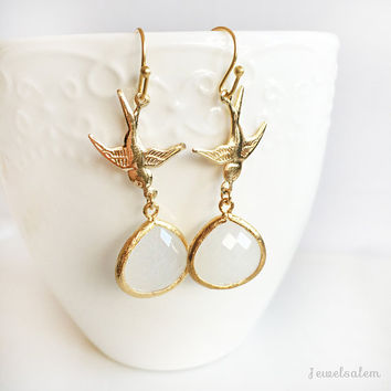 Dangling Bird Earrings, Modern Gold Filled Jewellery, White Teardrop Glass Stone, Bridal, Mother Gift, White Birthstone Long Dangle Earrings