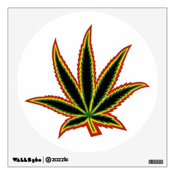 Pot Leaf Wall Decal, Rasta, Cannabis, Weed Decal Wall Sticker