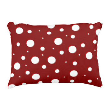 Deep red mushroom spots pattern, white dots accent pillow