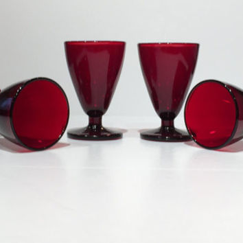 Set of 4 Hocking Glass Royal Ruby Red Footed Shot Glasses, Royal Ruby Red Cordial Glasses, Vintage Barware, Mid Century Mad Men,Ruby Red