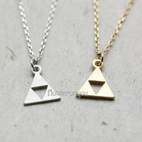 Tri force, Geometric  Trianlge Necklace, minimalist necklace jewelry, Trianlge Necklace